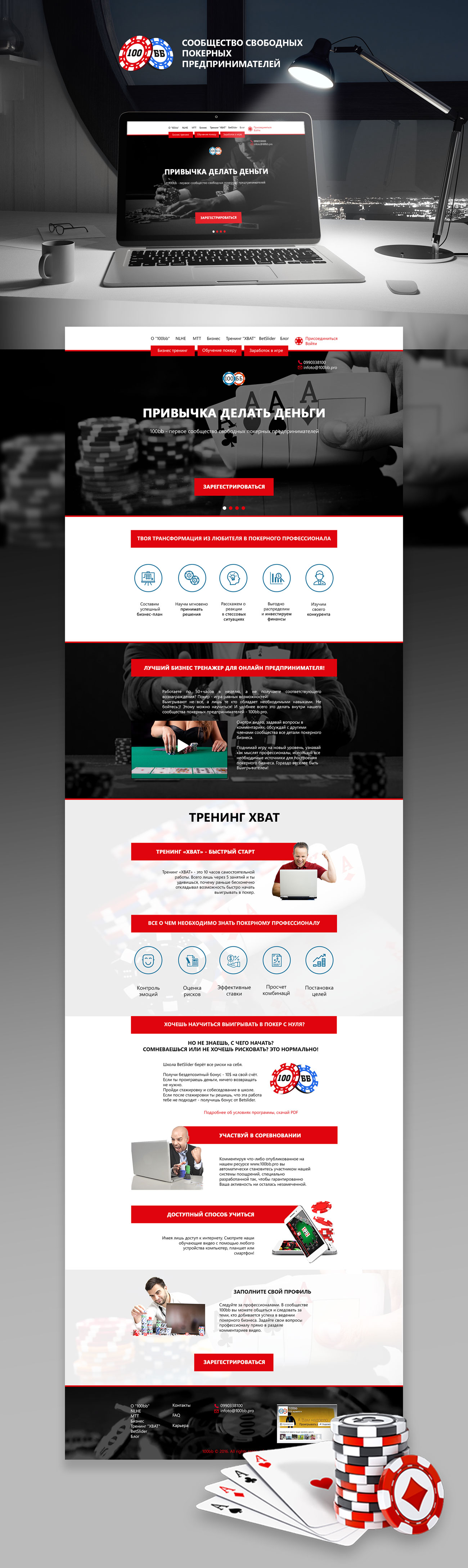 Редизайн сайта по обучению игры в покер